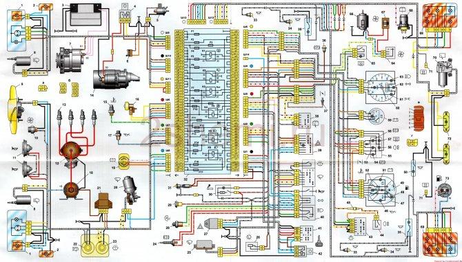 Электросхема ваз 2104 21043 карбюратор и инжектор с описанием схема зажигания неисправности электрооборудования